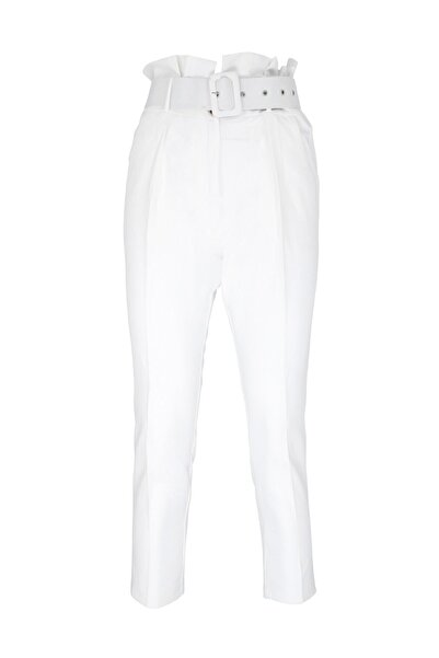 Oblavion Beyaz Yüksek Bel Kemerli Pantolon