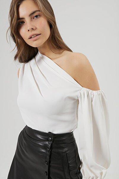 Y-London Kadın Beyaz Kol Detaylı Bluz Y20W180-6540