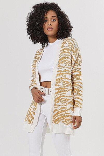 Y-London Kadın Beyaz Hardal Zebra Desenli Triko Hırka Y20W186-3001