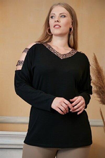 RMG Kadın Siyah Omuz ve Yakası Leopar Garnili Büyük Beden Bluz