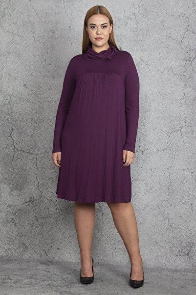 Şans Kadın Mürdüm Dik Yaka Göğüs Büzgü Detaylı Elbise 65N19211