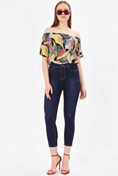 Kadın Koyu Mavi Tırnaklı Yüksek Bel Pantolon