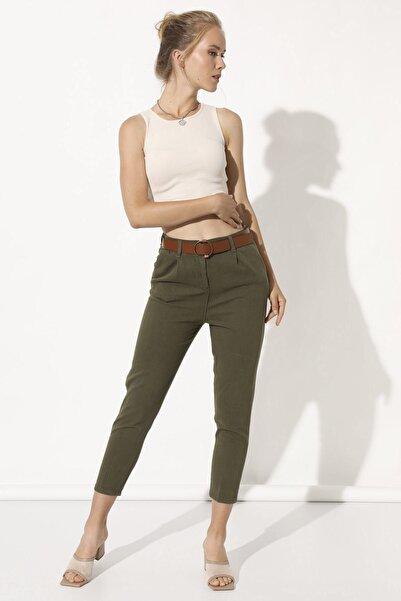 Arma Life Kadın Haki Deri Kemerli Pantolon