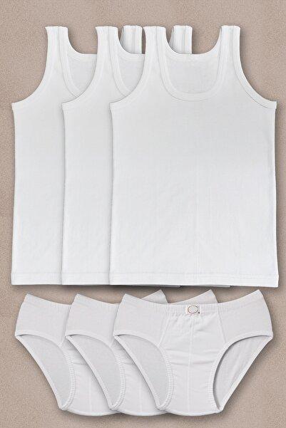 PRENS Erkek Çocuk Beyaz 3lü Paket Atlet Külot Takım 1250p3