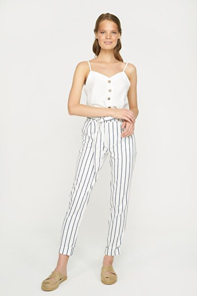Batik Kadın Lacivert Çizgili Pantolon Y10845
