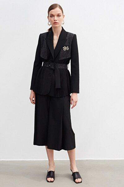 İpekyol Kadın Siyah Kumaş Mixli Ceket IW6200005060