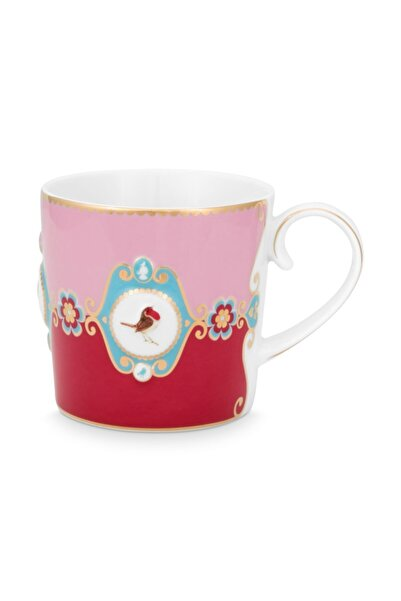 Pip Studio Love Bird Kırmızı/pembe Madalyon Desenli Küçük Mug 150 Ml