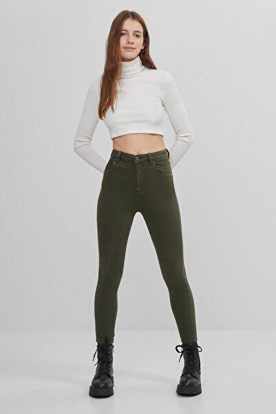 Bershka Kadın Haki Süper Streç Pantolon