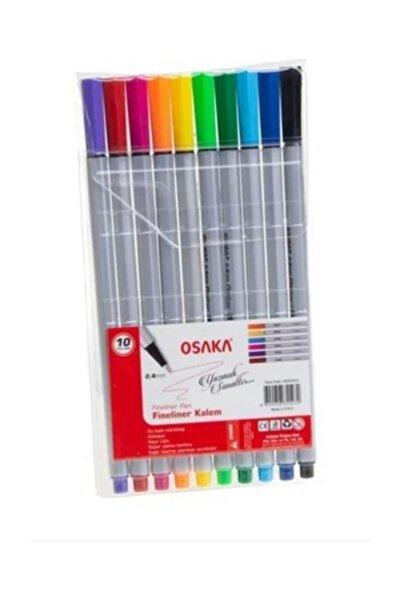 Osaka Iğne Ince Uçlu Keçeli Kalem Fineler Pen 10lu Karışık Renk