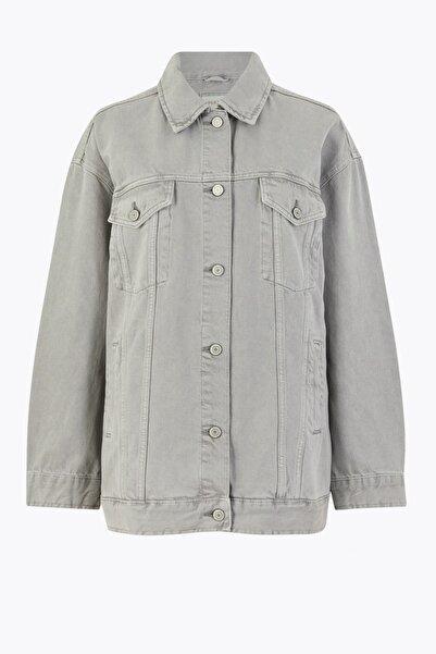 Marks & Spencer Kadın Gri Düğme Detaylı Denim Ceket T53004015U