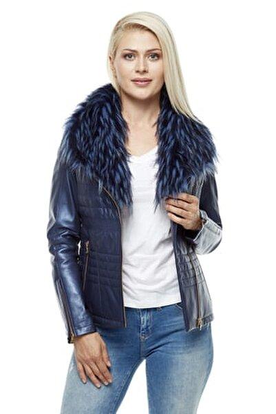 Kadın Gece Mavi Deri Ceket 3205