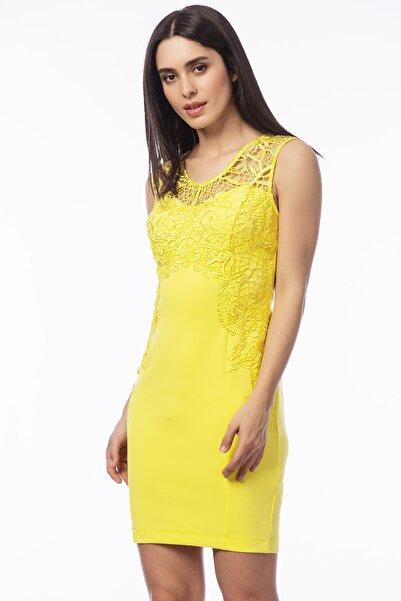 Şans Kadın Sarı Dantel Detaylı Elbise 26A11542