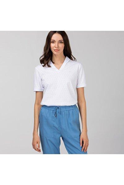 Lacoste Kadın Slim Fit Desenli Beyaz Polo PF0110
