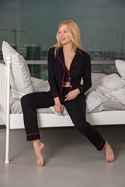 Siyah İnci Kadın Siyah-Kırmızı Pamuklu Likralı Düğmeli Biyeli Pijama Takım