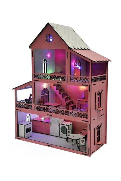 DIGERUI Pembe Barbie Ev Eşyalı 3 Kat Led Işıklı Bebekli Hazır Kurulu Kutu