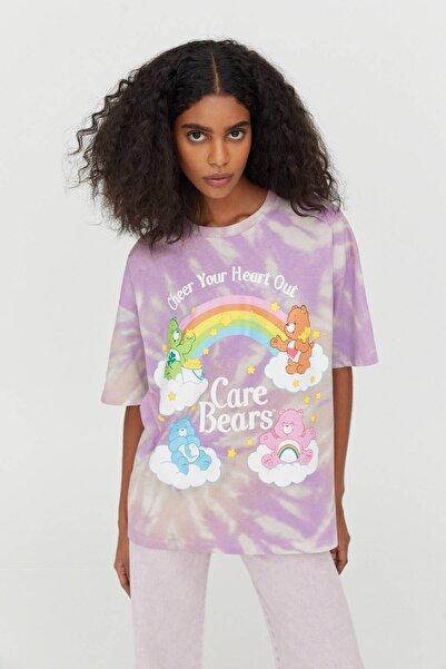 Pull & Bear Kadın Renkli Batik Care Bears T-Shirt 04242392