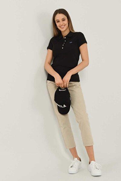 UCLA Shaver Siyah Polo Yaka Nakışlı Kadın Tshirt