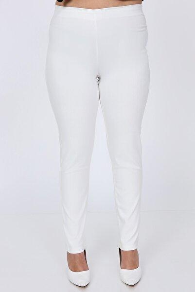 BÜYÜK BEDEN BESA Kadın Beli Lastikli Beyaz Pantolon
