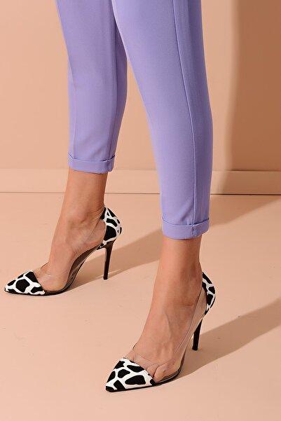Shoes Time Siyah Beyaz Şeffaf Kadın Topuklu Ayakkabı 20Y 210