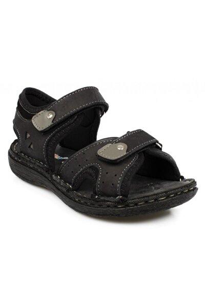 Toddler Çift Cırt Siyah Çocuk Sandalet 7029-1