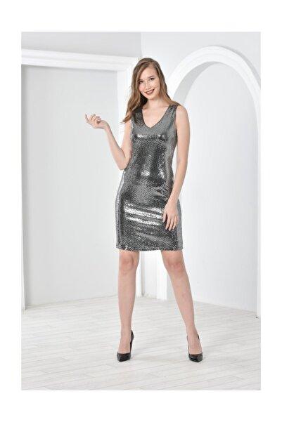 Seamoda Kadın Gümüş V Yaka Kolsuz Parlak Nokta Baskılı Elbise