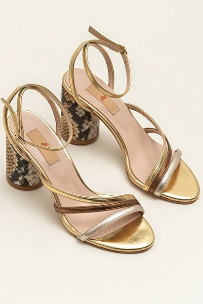 Elle Shoes CALIMESAA Altın Kombin Kadın Sandalet