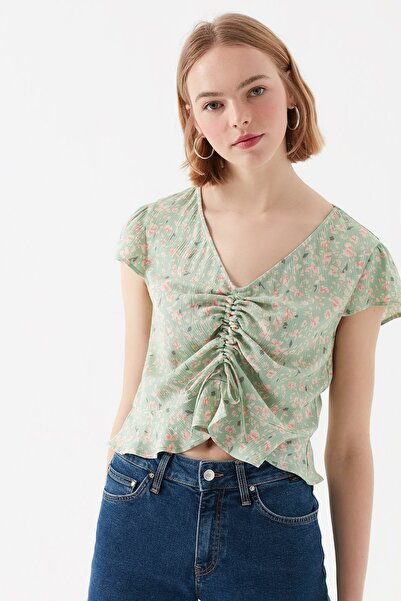 Mavi Çiçek Baskılı Yeşil Bluz 122517-31546