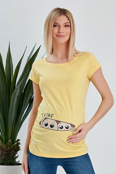 Görsin Hamile Kadın Ikiz Bebek Baskılı Sarı Hamile Tişört