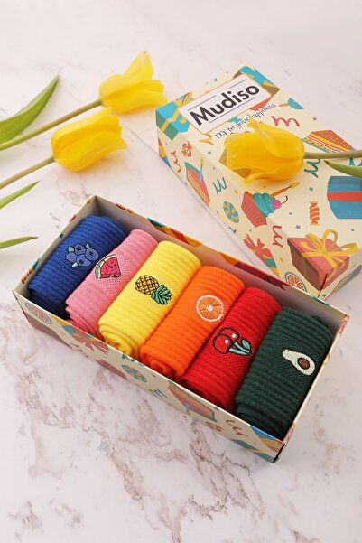 Mudiso 6'li Renkli Meyve Nakışlı Özel Kutulu Kadın Soket Çorap