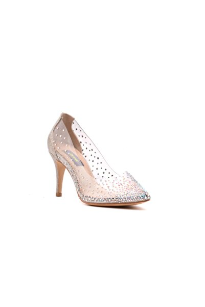 derinet Altın Taşlı Şeffaf Topuklu Kadın Stiletto