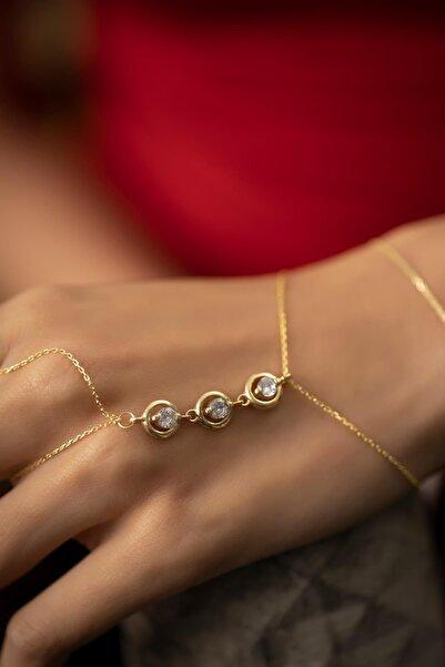 İzla Design Üçlü Tek Taş Model Altın Kaplama Gümüş Italyan Şahmeran