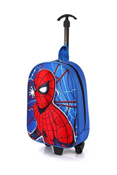 TahTicMer Anaokulu Çocuk Valiz Sırt Çantası Çekçekli 2in1 Örümcek Adam Model Sert Ön Yüzey 5d Boyutlu Mavi