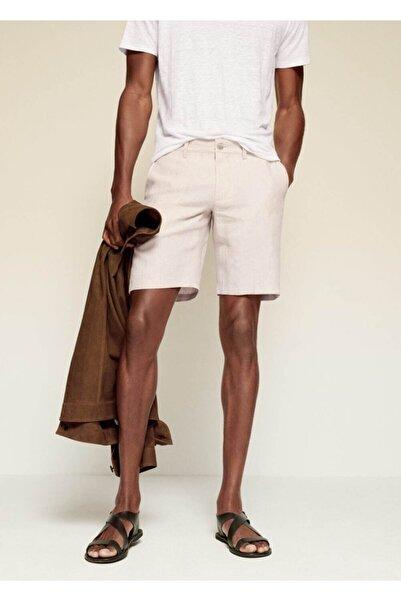 MANGO Man Erkek Ekru Keten Chino Bermuda Şort
