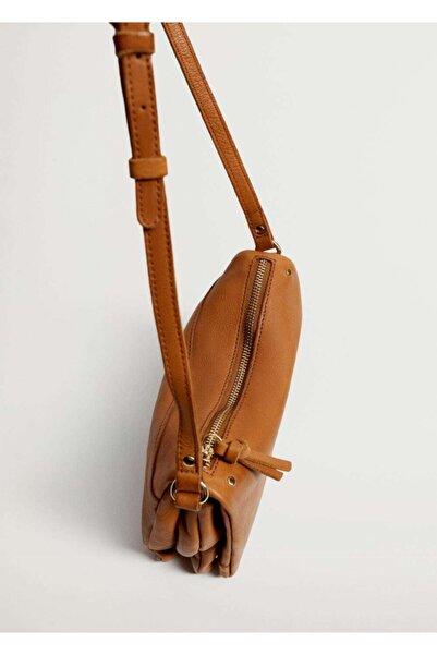 MANGO Woman Kapaklı Deri Çanta