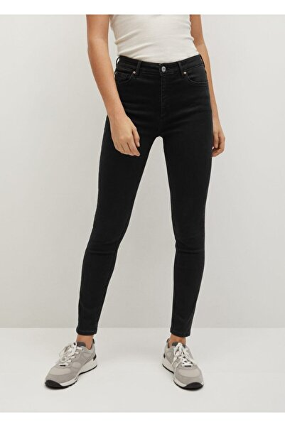 MANGO Woman Kadın Siyah denim Noa Yüksek Bel Skinny Jean Pantolon