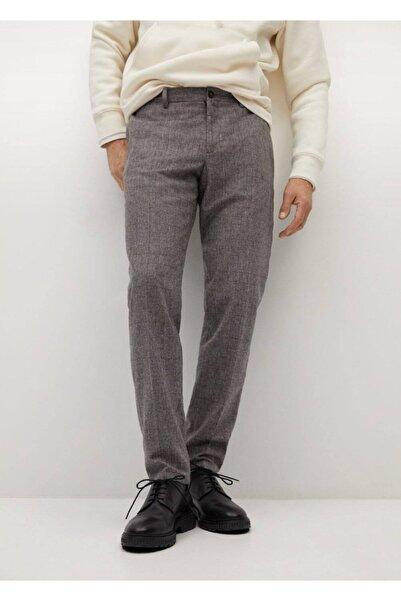 MANGO Man Erkek Kahverengi Kareli Yün Pantolon