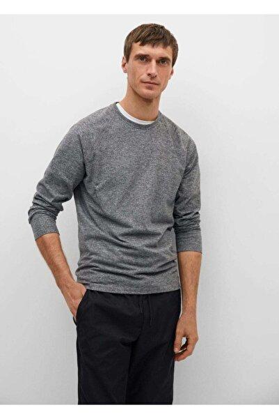 MANGO Man Erkek Gri Teknik Kumaşlı Uzun Kollu Tişört