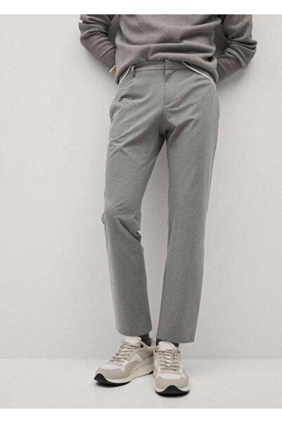 MANGO Man Erkek Gri Dar Kesimli Teknik Kumaşlı Pantolon