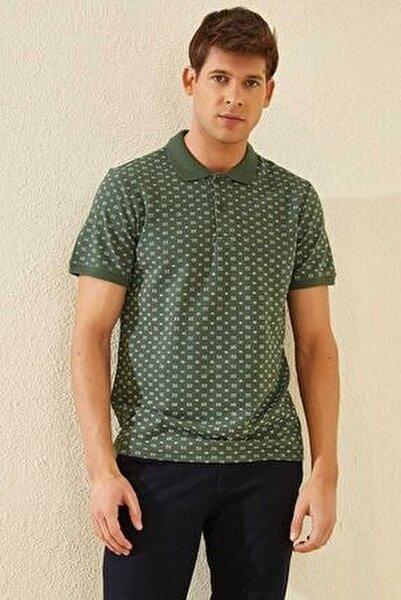 Klasik Desenli Polo Yaka Yeşil Erkek Tshirt T08ER-87795_1
