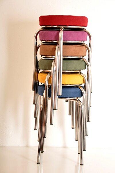 yılmaz masacılık 6 Lı Renkli Tay Tüyü Ahtapot Tabure Mutfak Taburesi Demir Tabure