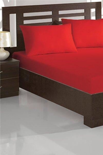 Ev & Ev Home Çift Kişilik Lastikli Çarşaf+Yastık Seti Polycotton Kırmızı