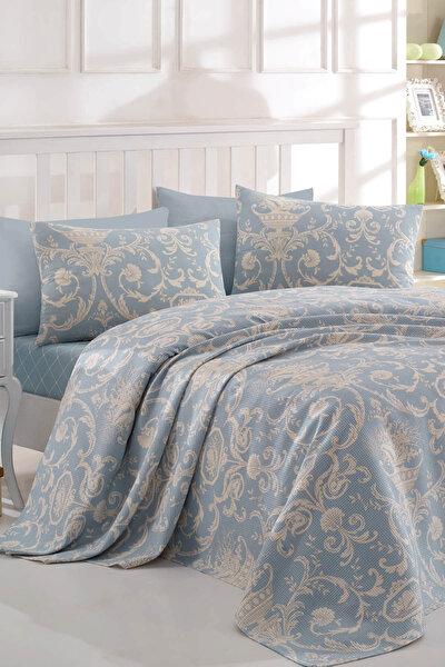 Ev & Ev Home Çift Kişilik Baskılı Pike Takımı Tuval Mavi Ep-015708