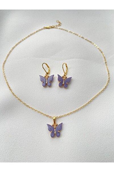 ms merijewelry Altın Kaplama Lila Kelebek Kolye Ve Küpe Set