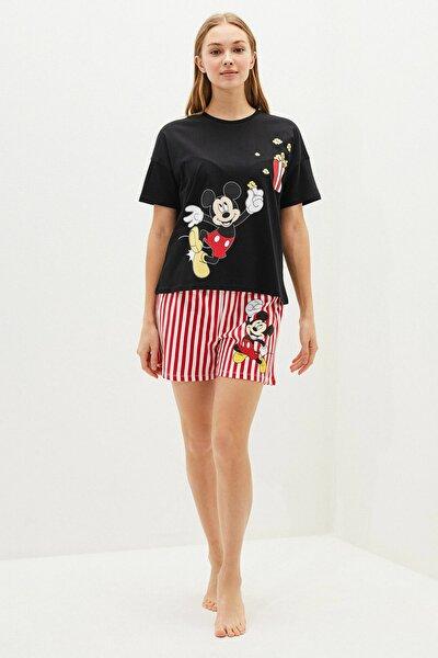 LC Waikiki Kadın Yeni Siyah Mickey Mouse Pijama Takım