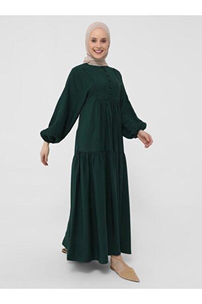 Refka Zümrüt Brit Detaylı Elbise