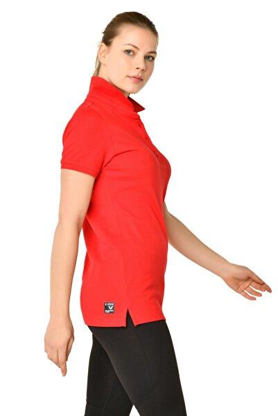 bilcee Kadın Kırmızı Polo Yaka T-shırt Hs-8719