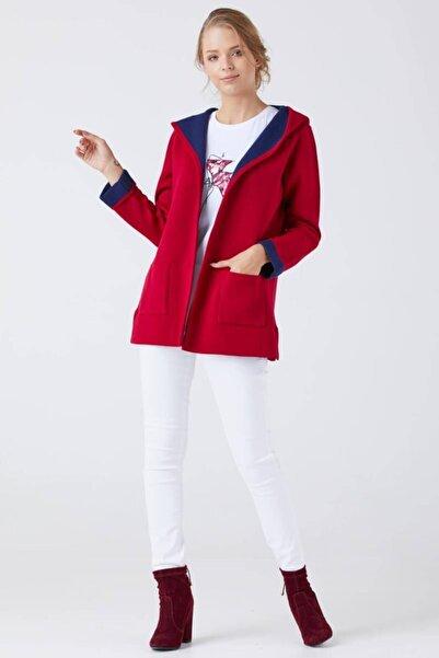 Sementa Kadın Kapüşonlu Cepli Triko Ceket - Kırmızı - Lacivert