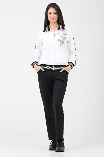 Sementa Çiçek Baskılı Fermuarlı Kadın Eşofman Takımı - Beyaz - Siyah