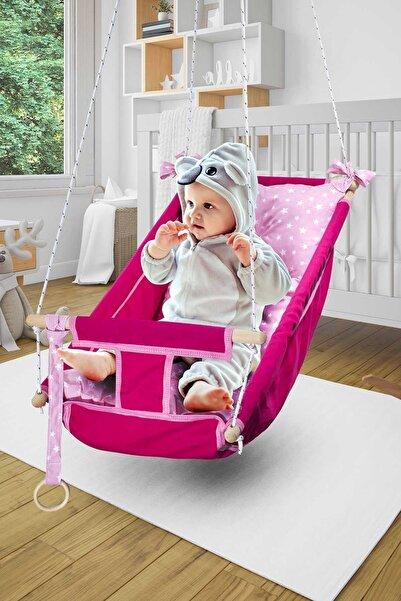 Bundera Kids Bebek Uyku Salıncağı Çocuk Ahşap Hamak Beşik Salıncak Minderli Yatak Seti Pembe