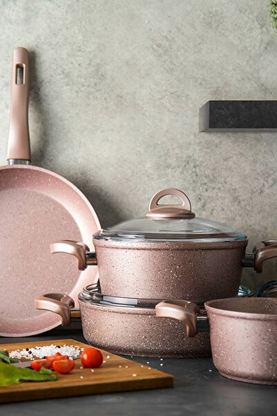 Emsan Premium Granit 7 Parça Golden Pink Tencere Seti